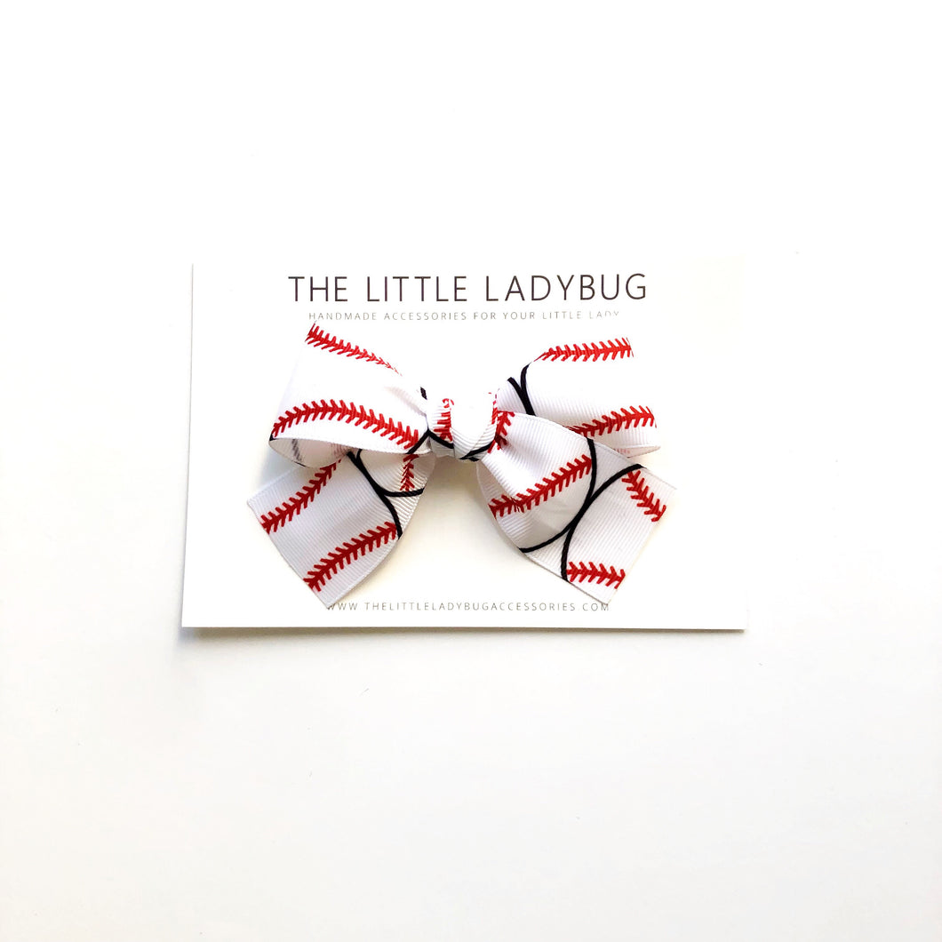 White with Baseballs Hand-Tied Ribbon Bow