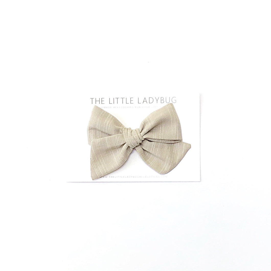 Khaki Linen Hand-Tied Fabric Bow