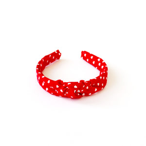 Red with White Hearts Hand-Knotted Headband