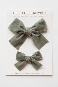 Gray Hand-Tied Velvet Bow