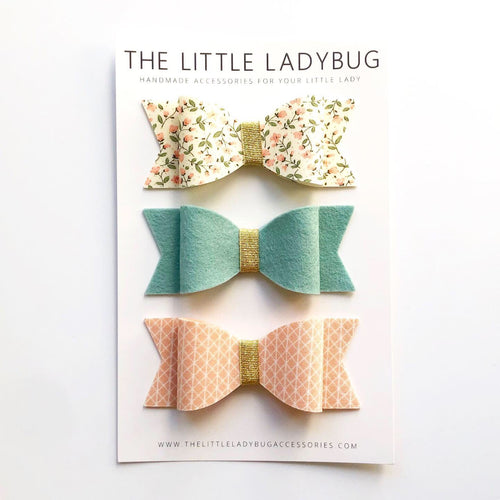 Set of Three Fabric Wool Felt Bows in Barely Yellow Pink Floral, Aqua Mist and Peach White Diamond