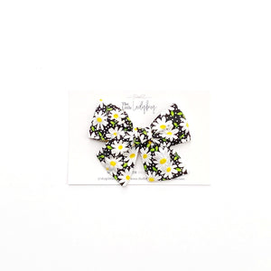 Set of Three Hand-Tied Fabric Bows in Black and White Daisies, Banana Yellow and White with Black Polka Dots
