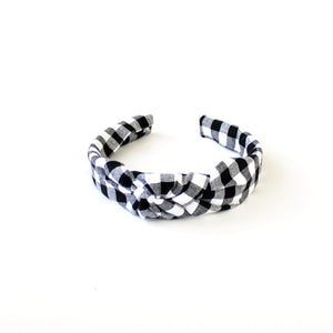 Black Check Hand-Knotted Headband