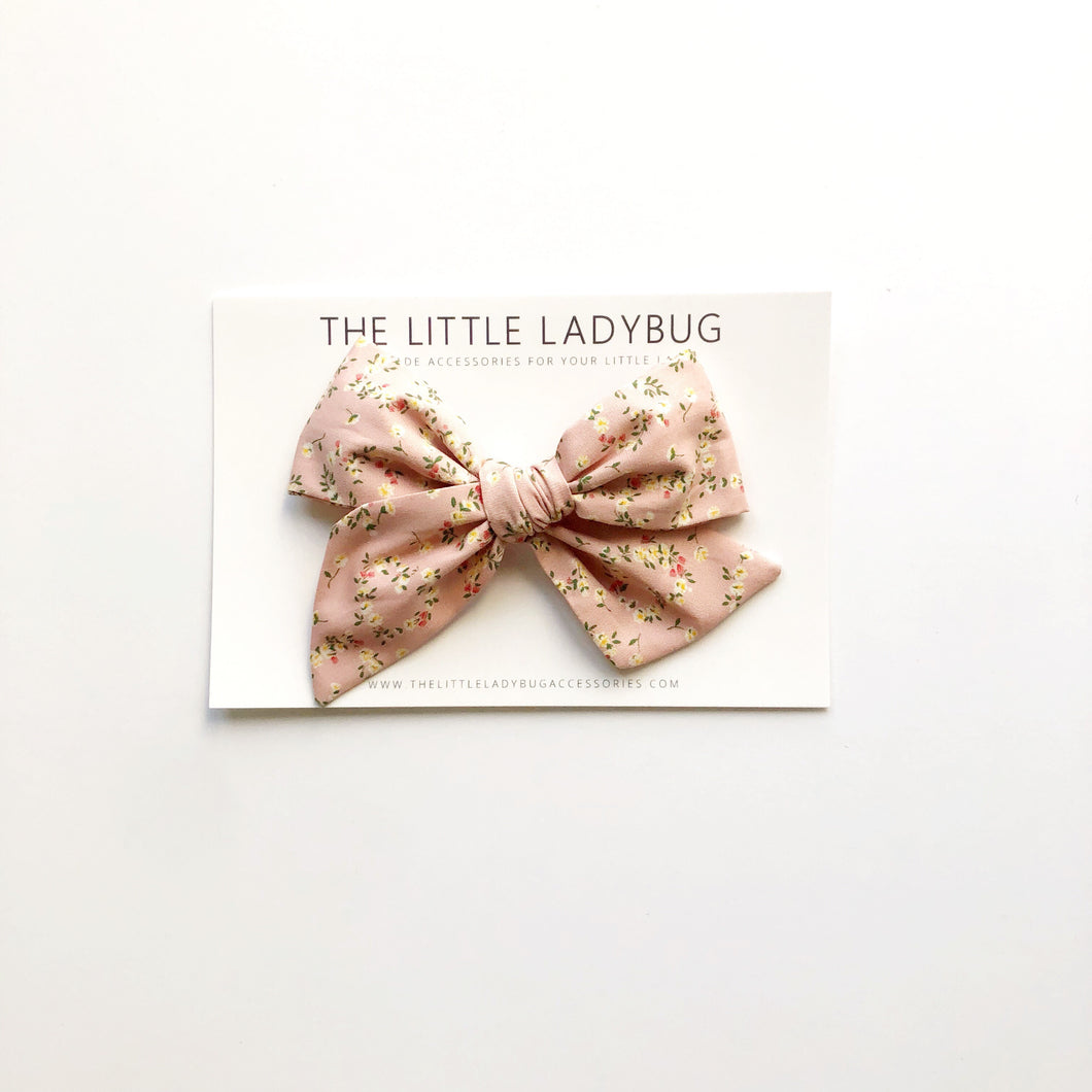 French Rose Floral Hand-Tied Fabric Bow