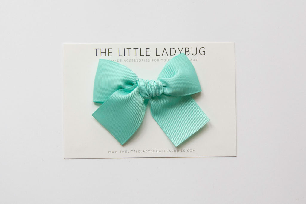 Aqua Blue Hand-Tied Ribbon Bow