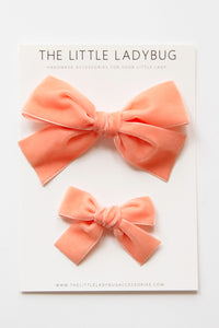 French Peach Hand-Tied Velvet Bow