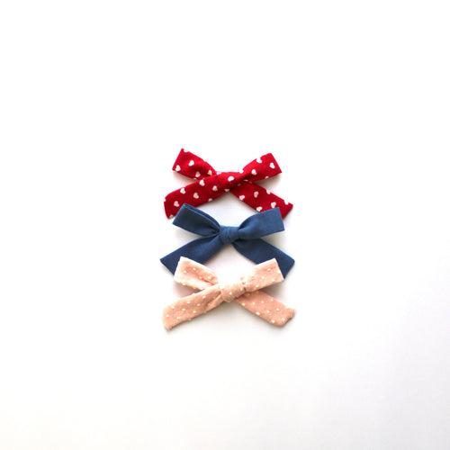 Set of Three Hand-Tied Jane Bows in Chambray, Red with White Hearts and Blush Pink Swiss Dot