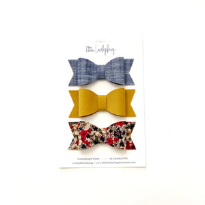 Set of Three Fabric Wool Sadie Bows in Blue Jean, Mustard Corduroy and Autumn Flowers Corduroy