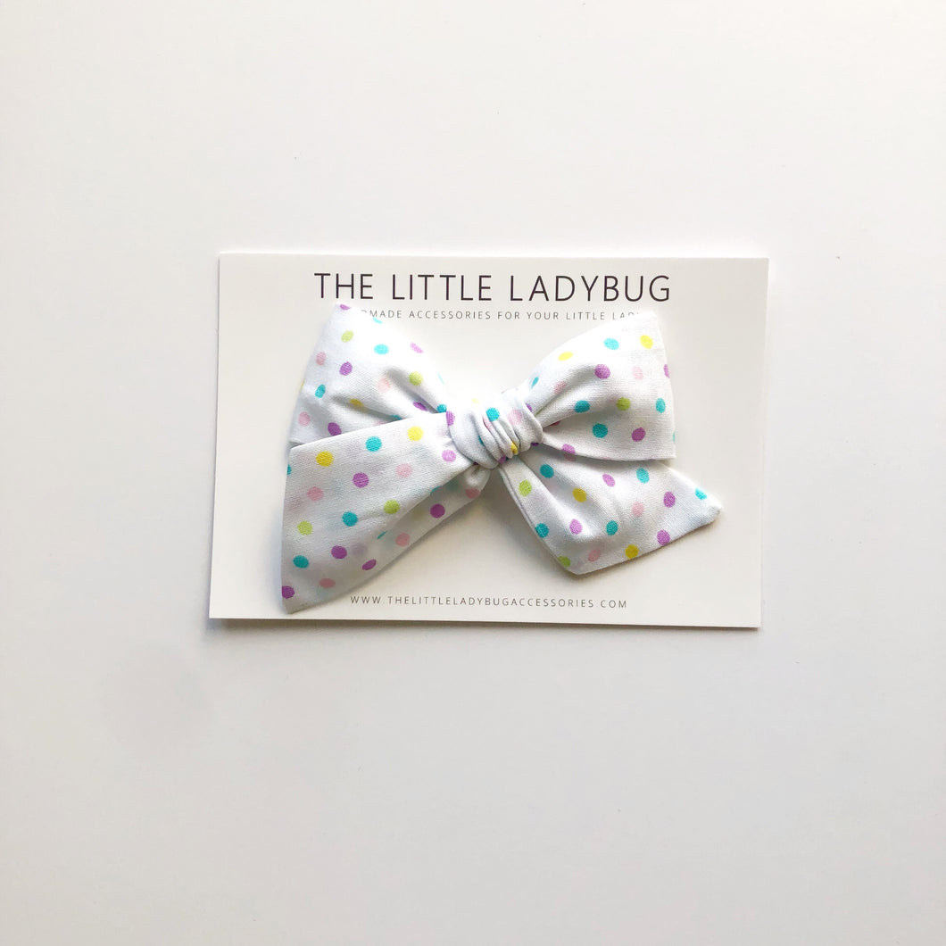 White with Pastel Polka Dots Hand-Tied Fabric Bow