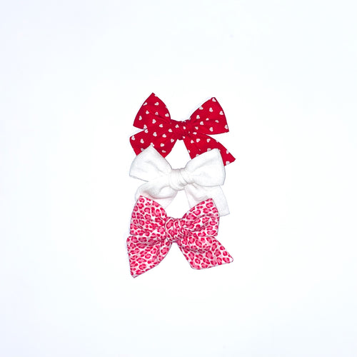 Set of Three Hand-Tied Olivia Bows in Red with White Hearts, Ivory Gauze and Bright Pink Cheetah