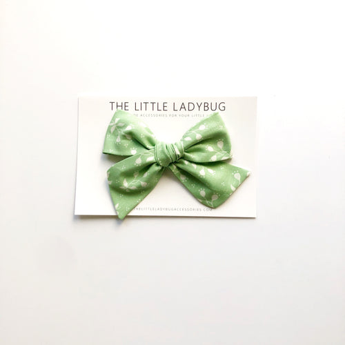 Pastel Green with White Floral Hand-Tied Fabric Bow
