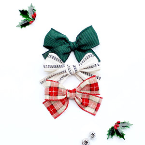 Set of Three Hand-Tied Holiday Ribbon Bows in Dark Green, White with Black Pinstripes and Christmas Plaid