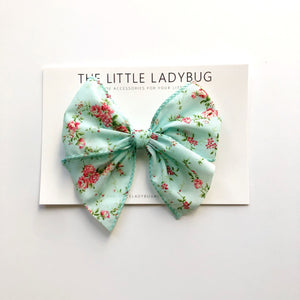 Powder Blue with Pink Floral Hand-Tied Ribbon Bow