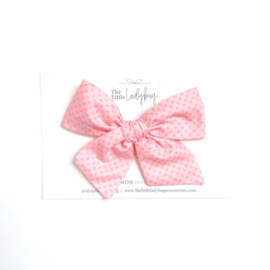 Creamy Peach with Cross-Stitch Detail Hand-Tied Fabric Bow