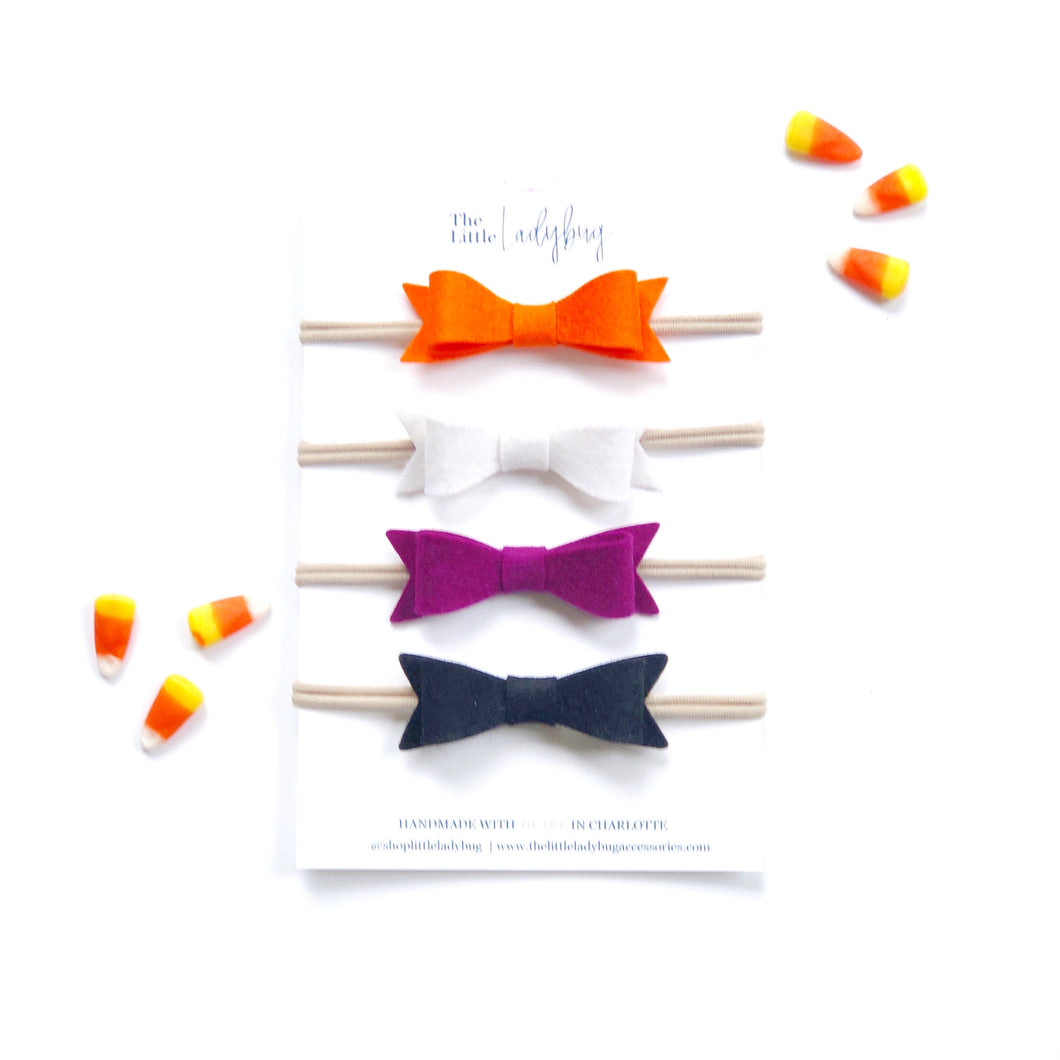 Not So Spooky Set | Four Wool Felt Bows in Tangelo, Ivory, Dark Berry and Black