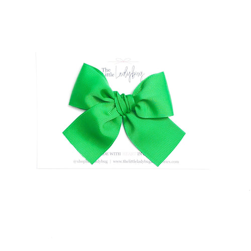Green Hand-Tied Ribbon Bow