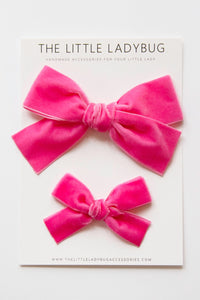 Shocking Pink Hand-Tied Velvet Bow