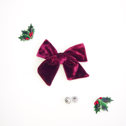 Burgundy Velvet Hand-Tied Fabric Bow