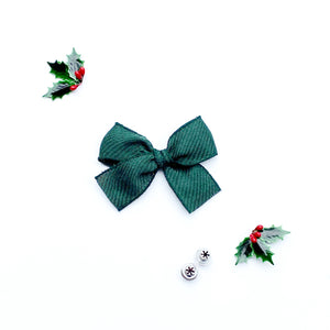 Dark Green Woven Hand-Tied Ribbon Bow