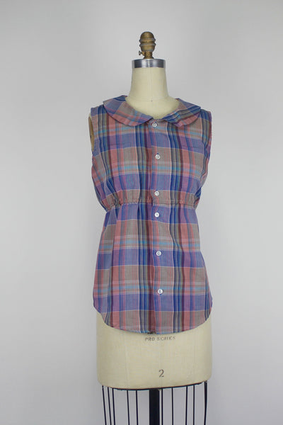 Urban Renewal Peter Pan Collar Plaid Womens Tank Small/Medium
