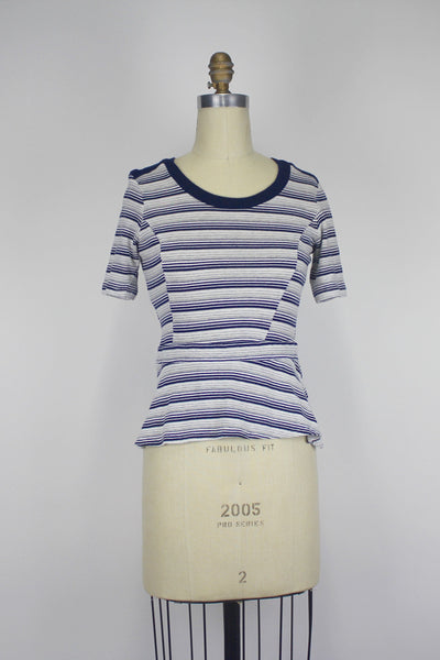 Anthropologie Bordeaux Veda Gray Navy Striped Fitted Peplum Knit Top Small