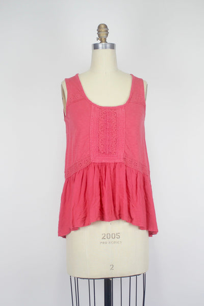 Anthropologie Lace Peplum Tank Size S Pink Coral Swingy Cotton Blend Top, Meadow Rue