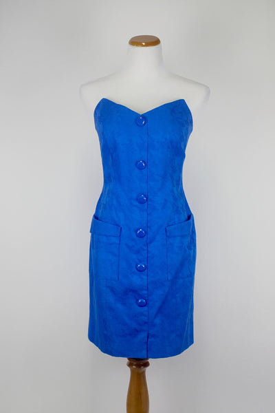 Linda Segal Vintage 80's Blue Strapless Womens Dress Size 4