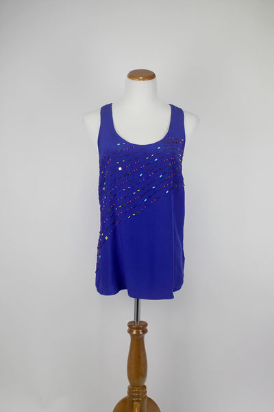 Anthropologie FEI Blue Beaded Front Womens Racerback Tank 10