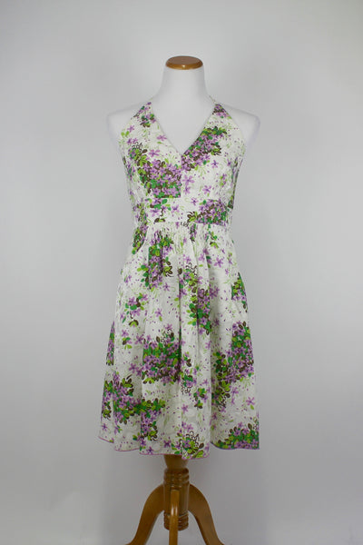 Anna Sui Hidden Grove Silk & Cotton Halter Dress Anthropologie Womens 12