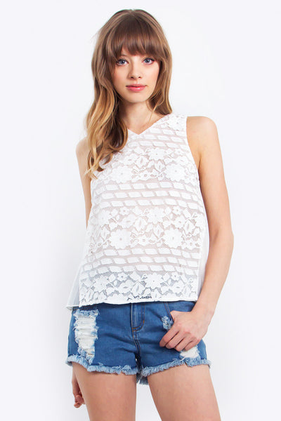 Emily Lace Top White Floral Pattern Tank