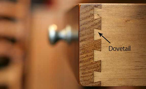 image showing where dovetail joint is on a drawer