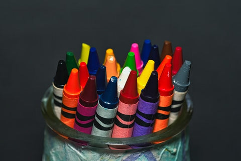 crayons used to conceal scratches on wooden furniture