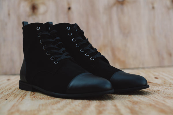 mens luxury suede black laceup boots by dara shoes