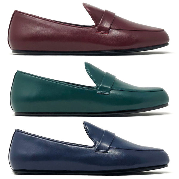 dara shoes mens redesigned pavia loafers in green blue and oxblood red