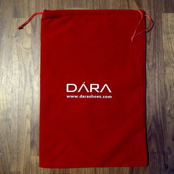 dara shoes red velvet dust carrying bag