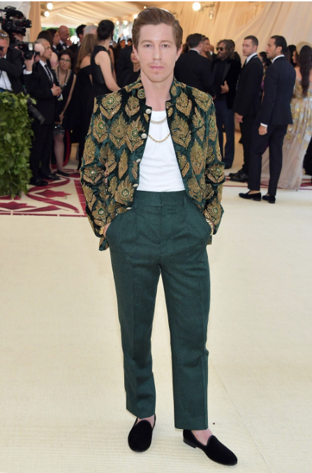 shaun white met gala 2018 black velvet slipper