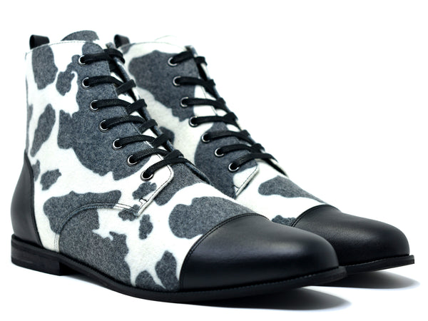 dara shoes mens black and white wool laceup asti boots angle view