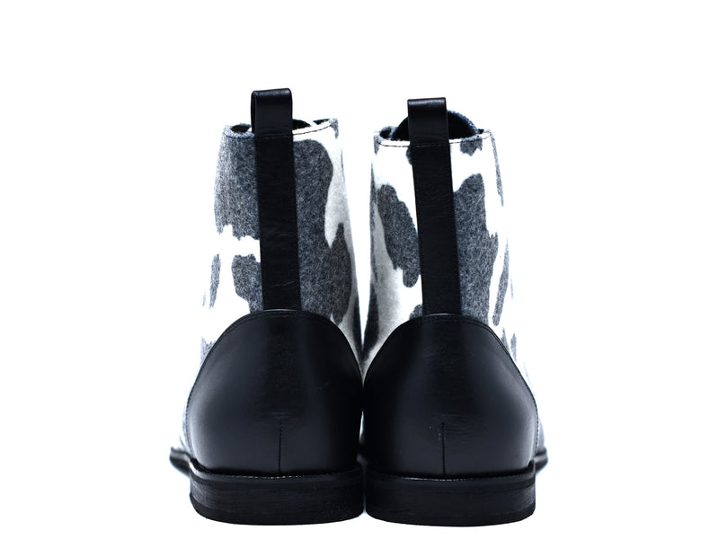 dara shoes mens black and white wool laceup asti boots back view