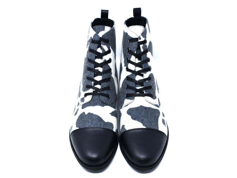dara shoes mens black and white wool laceup asti boots front view