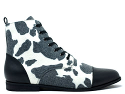 dara shoes mens black and white wool laceup asti boots side view