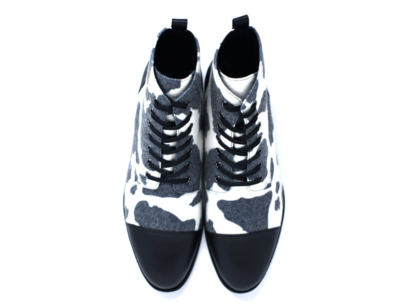 dara shoes mens black and white wool laceup asti boots top view