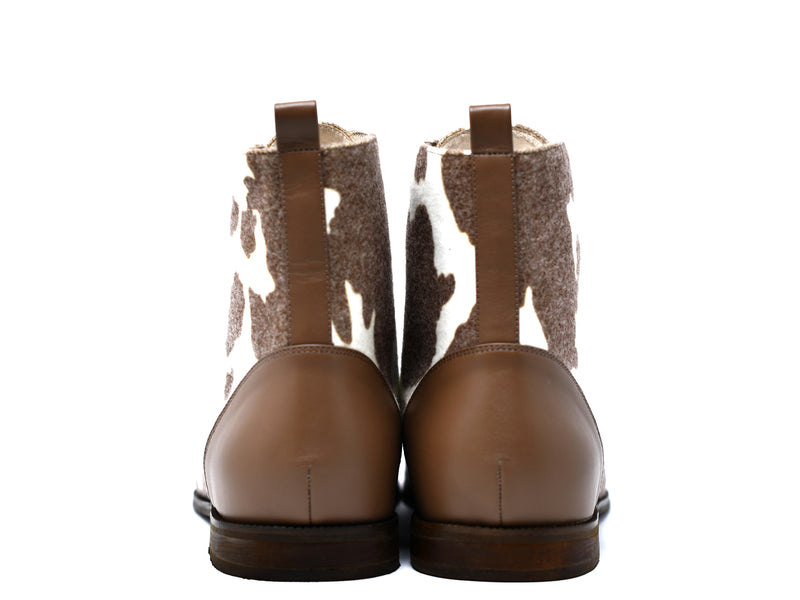 dara shoes mens brown and white wool laceup asti boots back view
