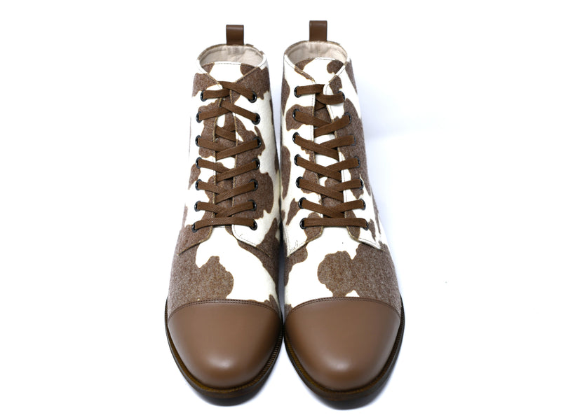 dara shoes mens brown and white wool laceup asti boots front view