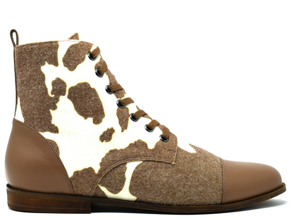 dara shoes mens brown and white wool laceup asti boots side view