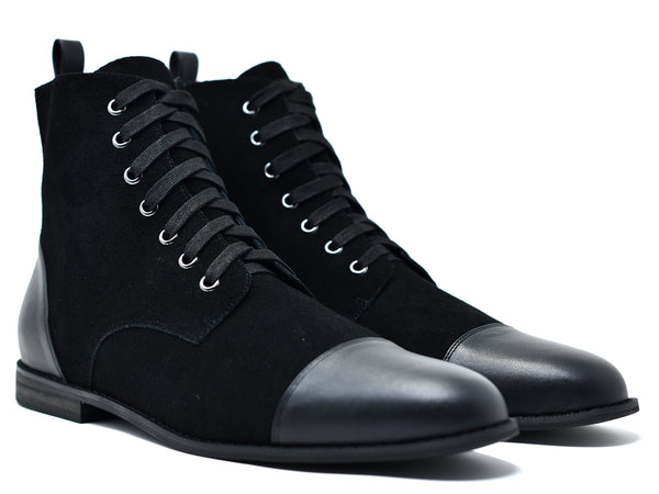 dara shoes mens black suede laceup asti boots in black angle view