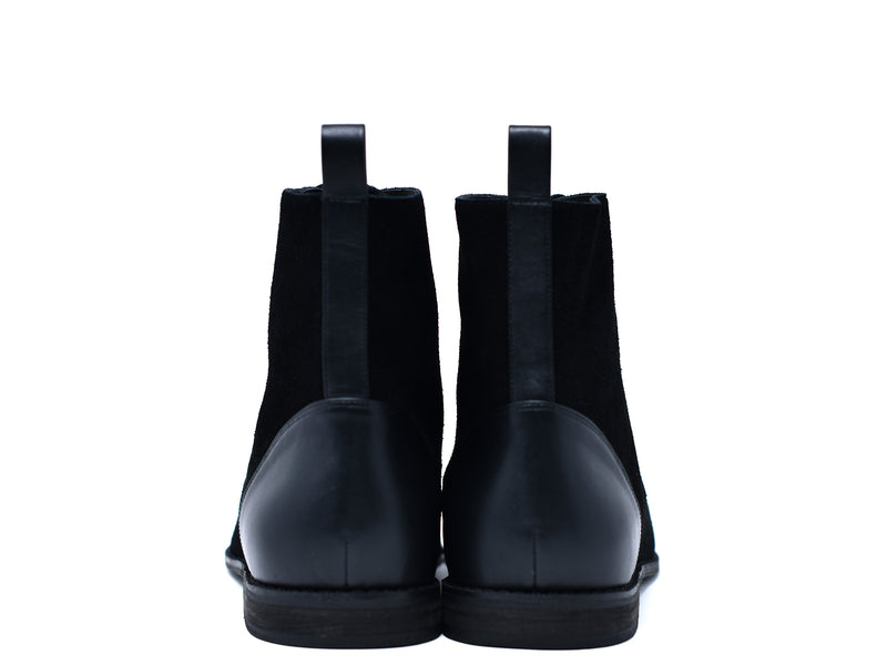 dara shoes mens black suede laceup asti boots in black back view