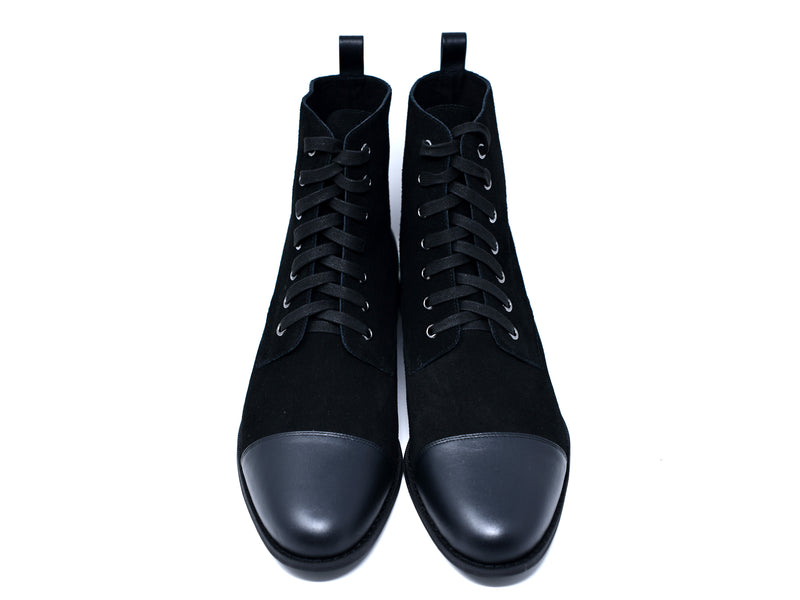 dara shoes mens black suede laceup asti boots in black front view