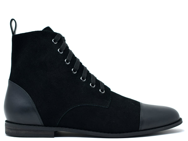 dara shoes mens black suede laceup asti boots in black side view