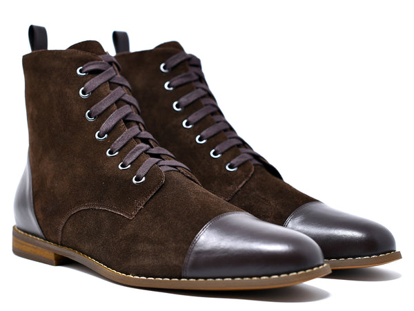 dara shoes mens brown suede laceup asti boots angle view