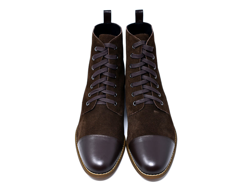 dara shoes mens brown suede laceup asti boots front view